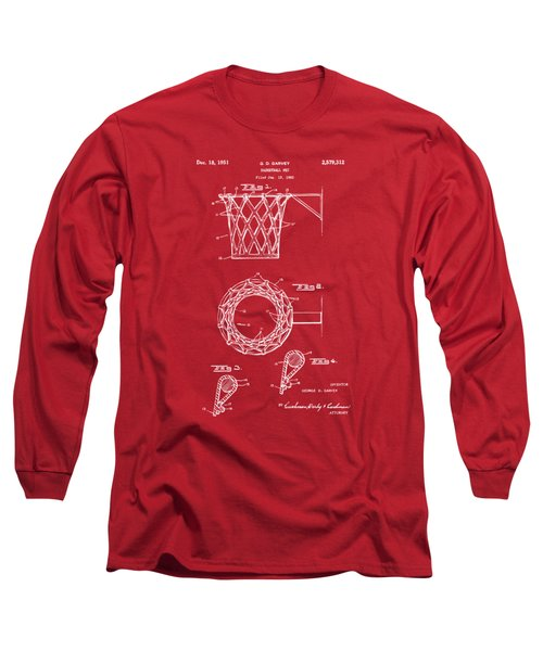 1951 Basketball Net Patent Artwork - Red Long Sleeve T-Shirt by Nikki Marie Smith