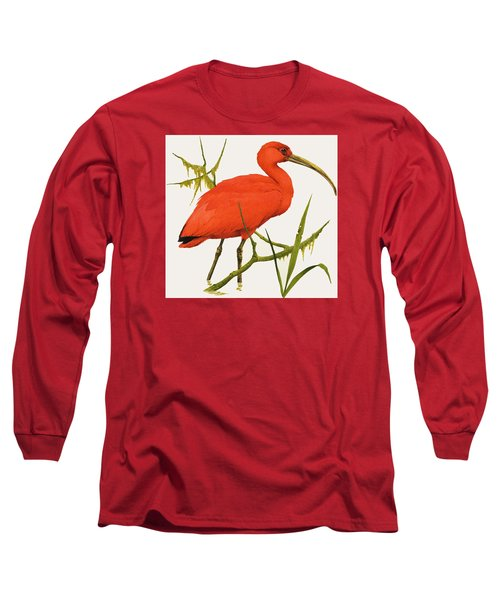 A Scarlet Ibis From South America Long Sleeve T-Shirt by Kenneth Lilly