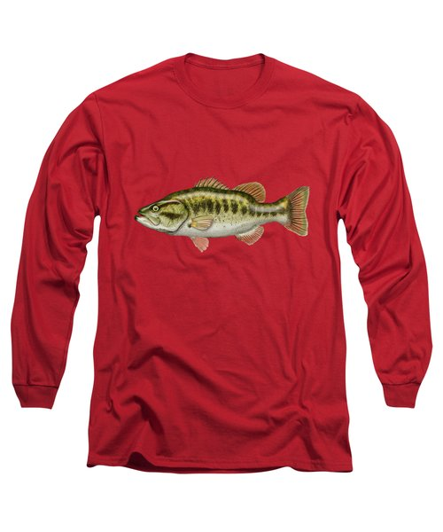 Largemouth Bass On Red Leather Long Sleeve T-Shirt by Serge Averbukh