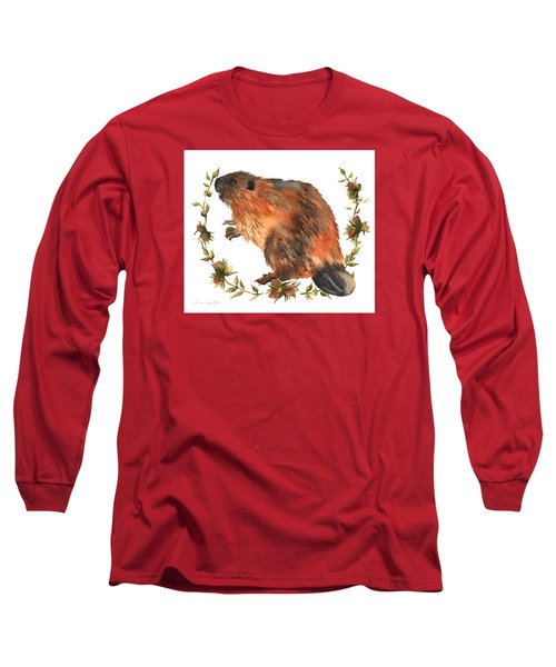 Beaver Painting Long Sleeve T-Shirt by Alison Fennell