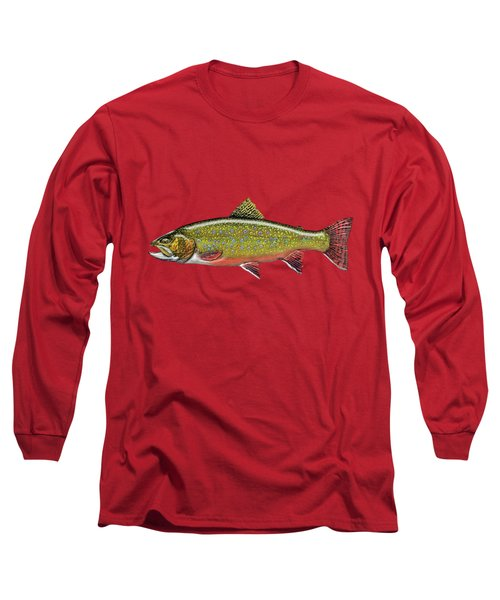 Brook Trout On Red Leather Long Sleeve T-Shirt by Serge Averbukh