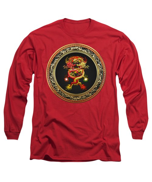 Brotherhood Of The Snake - The Red And The Yellow Dragons On Red Velvet Long Sleeve T-Shirt by Serge Averbukh