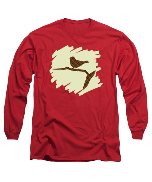 Brown Bird Silhouette Modern Bird Art Long Sleeve T-Shirt by Christina Rollo