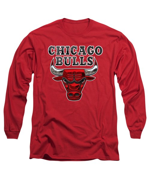 Chicago Bulls - 3 D Badge Over Flag Long Sleeve T-Shirt by Serge Averbukh