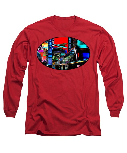 City Tansit Pop Art Long Sleeve T-Shirt by Phyllis Denton