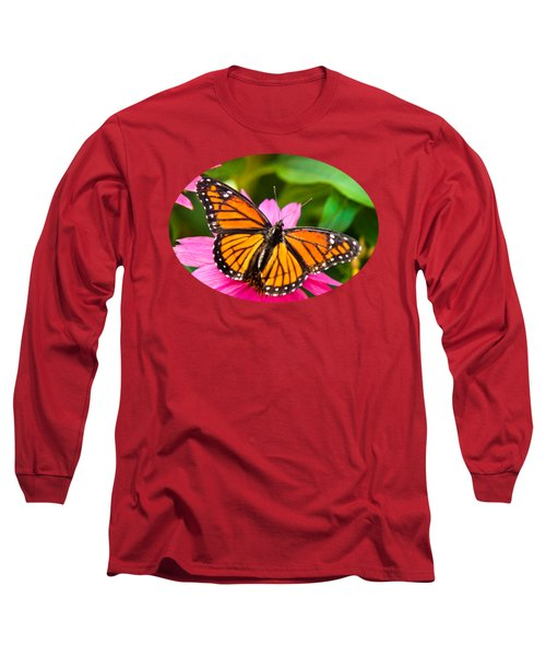 Colorful Butterflies - Orange Viceroy Butterfly Long Sleeve T-Shirt by Christina Rollo