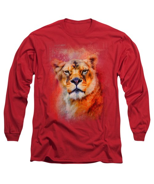 Colorful Expressions Lioness Long Sleeve T-Shirt by Jai Johnson