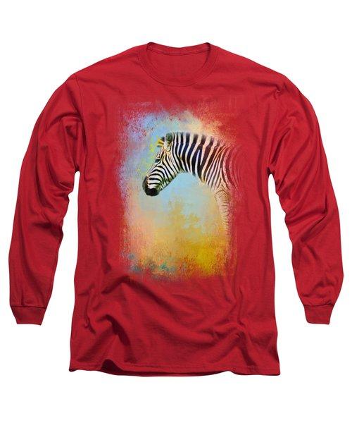 Colorful Expressions Zebra Long Sleeve T-Shirt by Jai Johnson