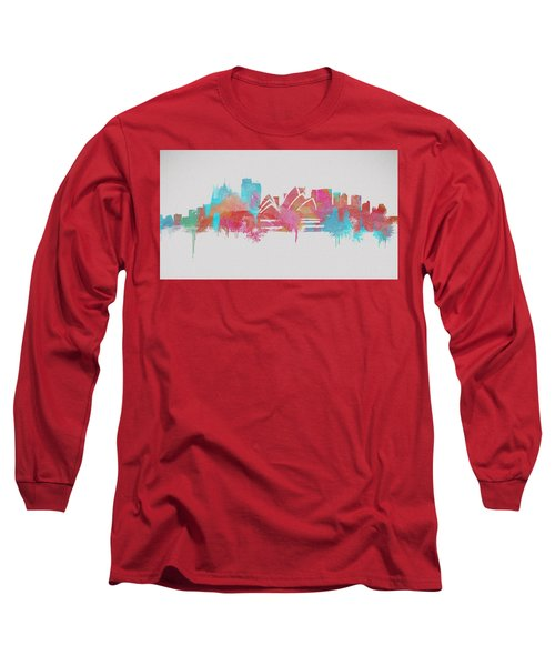 Colorful Sydney Skyline Silhouette Long Sleeve T-Shirt by Dan Sproul