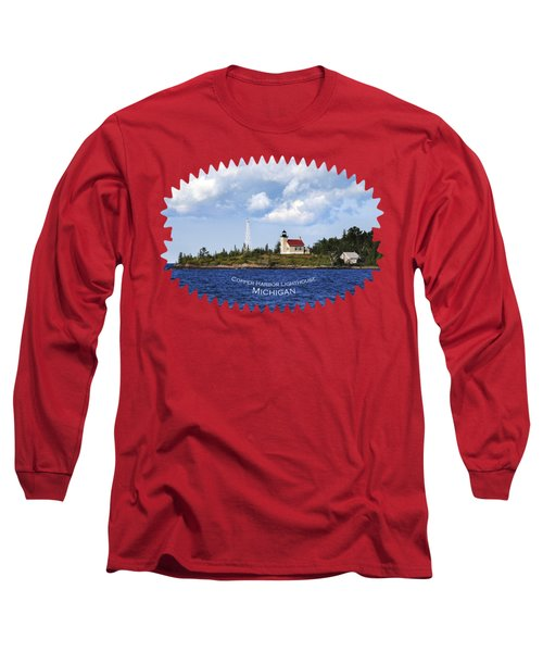 Copper Harbor Lighthouse Long Sleeve T-Shirt by Christina Rollo