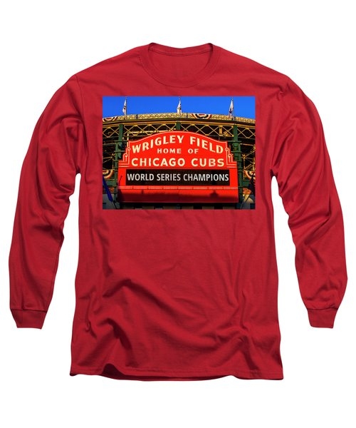 Cubs Win World Series Long Sleeve T-Shirt by Andrew Soundarajan