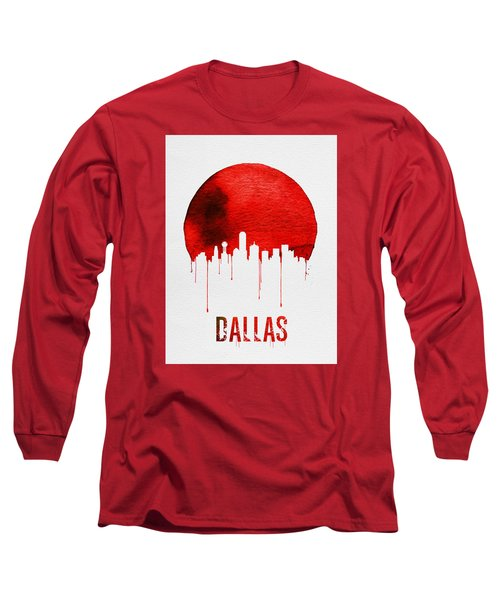 Dallas Skyline Red Long Sleeve T-Shirt by Naxart Studio