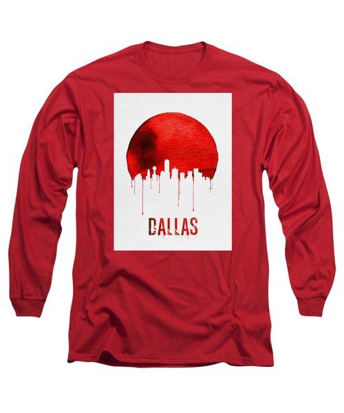 Dallas Skyline Red Long Sleeve T-Shirt by Naxart Studio