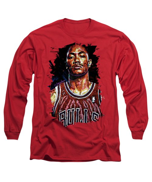 Derrick Rose-2 Long Sleeve T-Shirt by Maria Arango