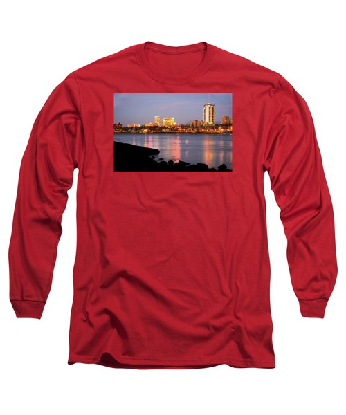 Downtown Tulsa Oklahoma - University Tower View Long Sleeve T-Shirt by Gregory Ballos