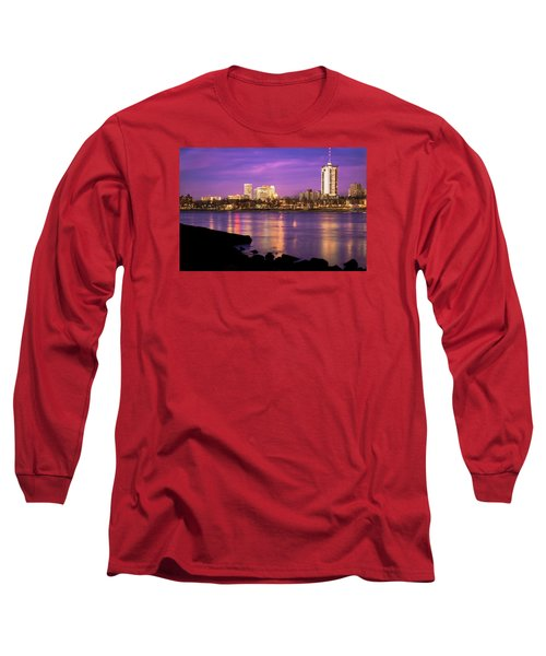 Downtown Tulsa Oklahoma - University Tower View - Purple Skies Long Sleeve T-Shirt by Gregory Ballos