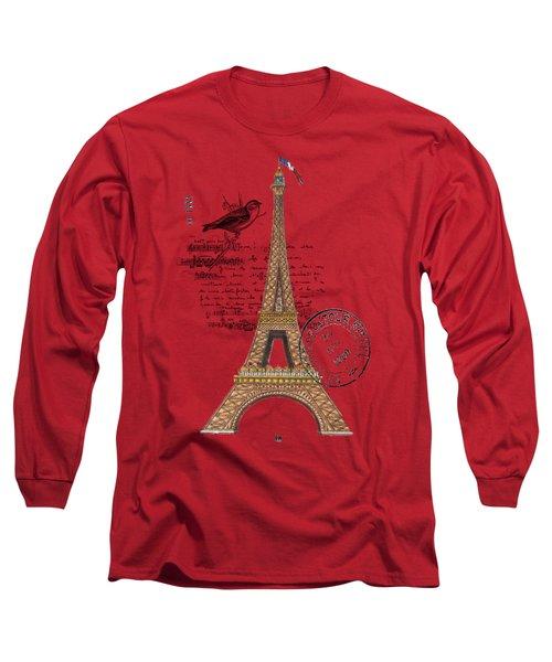 Eiffel Tower T Shirt Design Long Sleeve T-Shirt by Bellesouth Studio