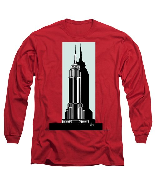 Empire State Building Deco Minimal Long Sleeve T-Shirt by Cecely Bloom