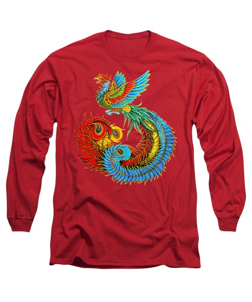 Fenghuang Chinese Phoenix Long Sleeve T-Shirt by Rebecca Wang
