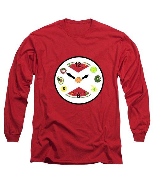 Food Clock Long Sleeve T-Shirt by Kathleen Sartoris