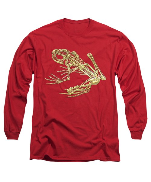 Frog Skeleton In Gold On Red  Long Sleeve T-Shirt by Serge Averbukh