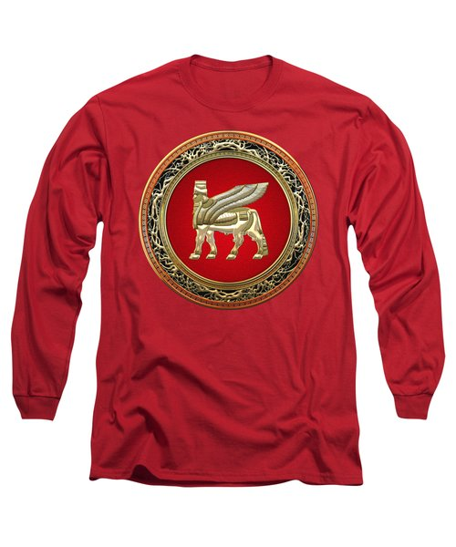 Golden Babylonian Winged Bull  Long Sleeve T-Shirt by Serge Averbukh