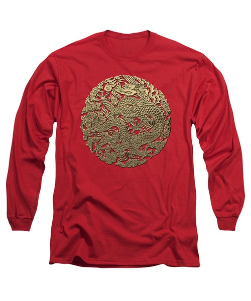 Golden Chinese Dragon On Red Leather Long Sleeve T-Shirt by Serge Averbukh