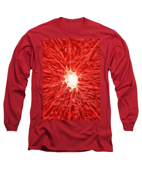 Grapefruit Close-up Long Sleeve T-Shirt by Johan Swanepoel
