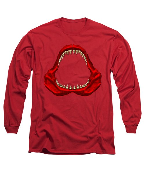 Great White Shark - Red Jaws With Gold Teeth On Red Canvas Long Sleeve T-Shirt by Serge Averbukh