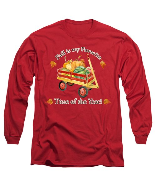 Harvest Red Wagon Pumpkins N Leaves Long Sleeve T-Shirt by Audrey Jeanne Roberts