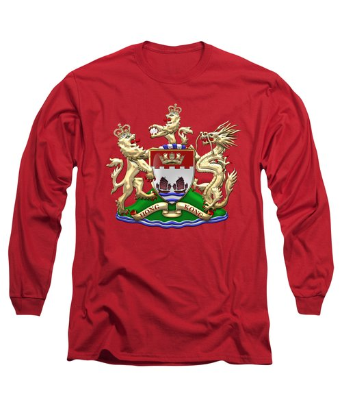 Hong Kong - 1959-1997 Coat Of Arms Over Red Leather  Long Sleeve T-Shirt by Serge Averbukh