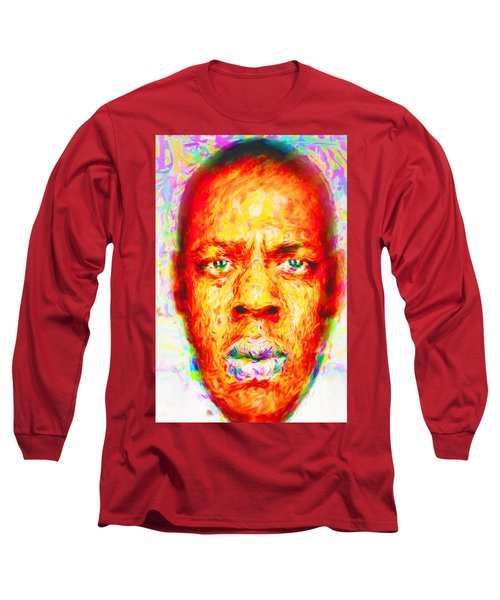 Jay-z Shawn Carter Digitally Painted Long Sleeve T-Shirt by David Haskett