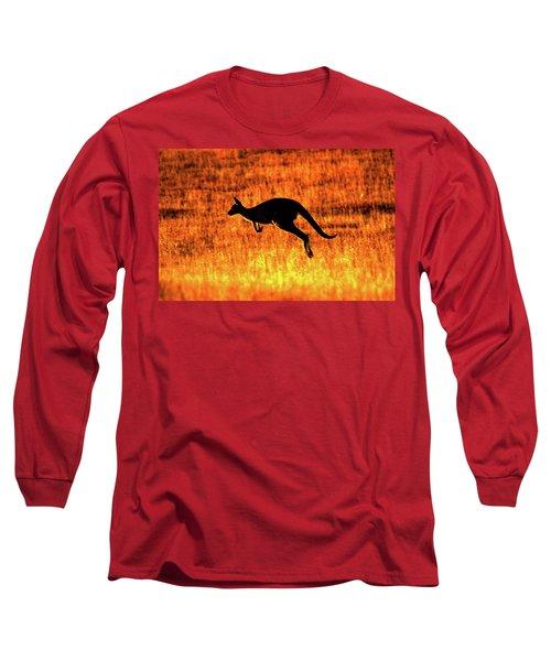 Kangaroo Sunset Long Sleeve T-Shirt by Bruce J Robinson