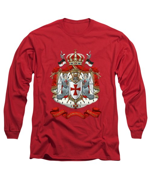 Knights Templar - Coat Of Arms Over Red Velvet Long Sleeve T-Shirt by Serge Averbukh