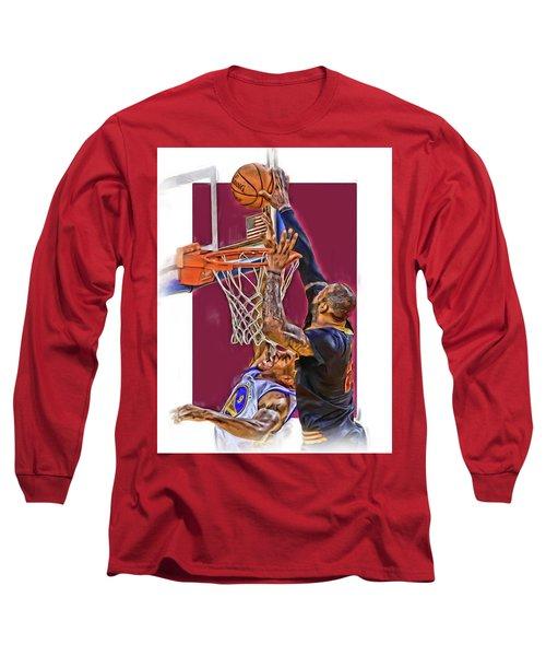 Lebron James Cleveland Cavaliers Oil Art Long Sleeve T-Shirt by Joe Hamilton