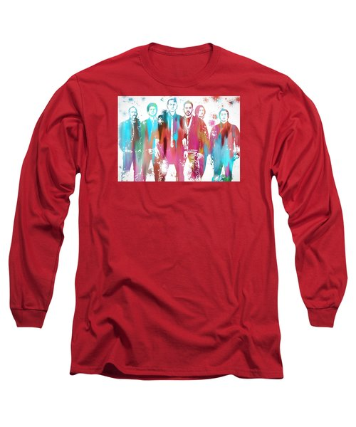 Linkin Park Watercolor Paint Splatter Long Sleeve T-Shirt by Dan Sproul