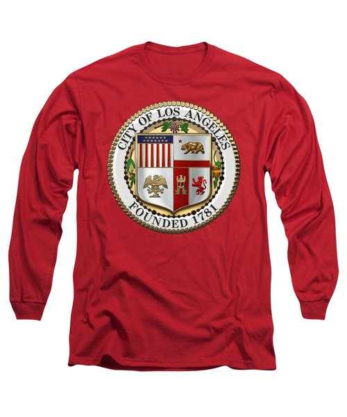 Los Angeles City Seal Over Red Velvet Long Sleeve T-Shirt by Serge Averbukh