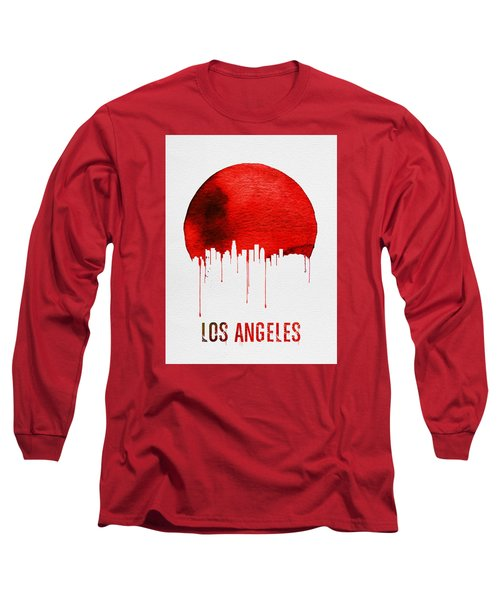 Los Angeles Skyline Red Long Sleeve T-Shirt by Naxart Studio