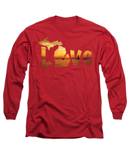 Love Lake Michigan Long Sleeve T-Shirt by Emily Kay