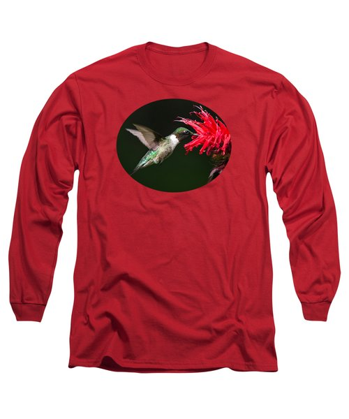 Male Ruby-throated Hummingbird With Red Flower Long Sleeve T-Shirt by Christina Rollo