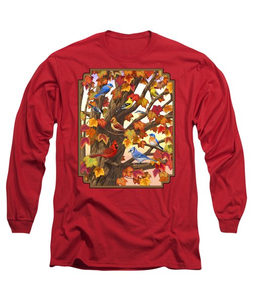 Maple Tree Marvel - Bird Painting Long Sleeve T-Shirt by Crista Forest