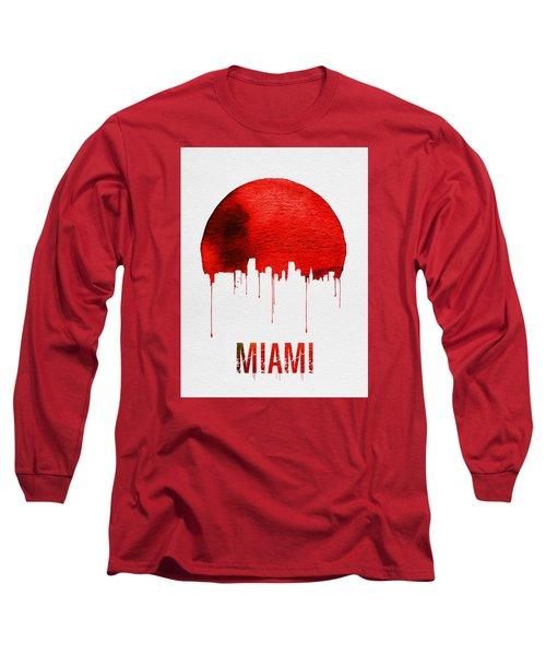 Miami Skyline Red Long Sleeve T-Shirt by Naxart Studio