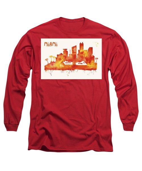 Miami Skyline Watercolor Poster - Cityscape Painting Artwork Long Sleeve T-Shirt by Beautify My Walls