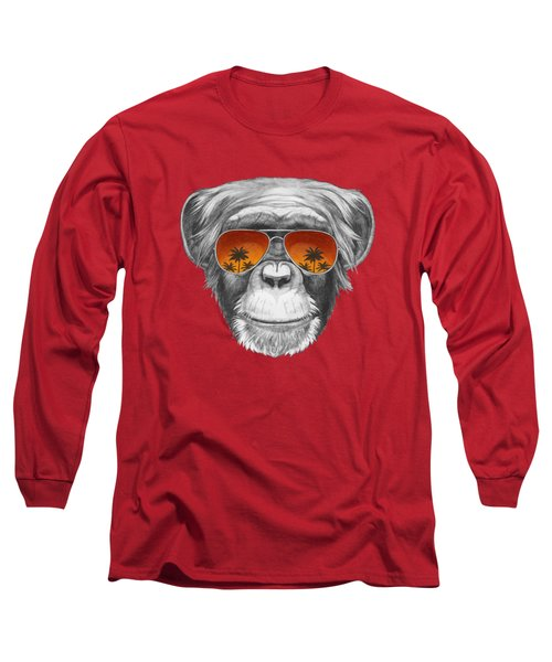 Monkey With Mirror Sunglasses Long Sleeve T-Shirt by Marco Sousa