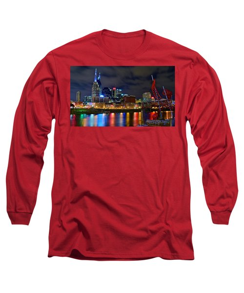 Nashville After Dark Long Sleeve T-Shirt by Frozen in Time Fine Art Photography