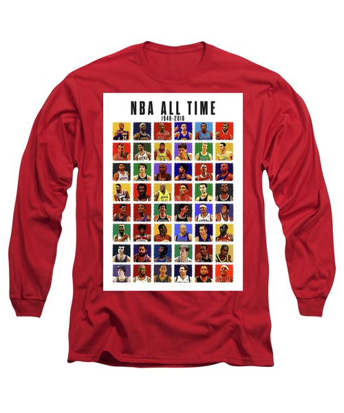 Nba All Times Long Sleeve T-Shirt by Semih Yurdabak