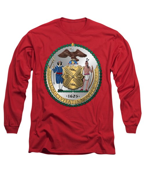 New York City Coat Of Arms - City Of New York Seal Over Red Velvet Long Sleeve T-Shirt by Serge Averbukh
