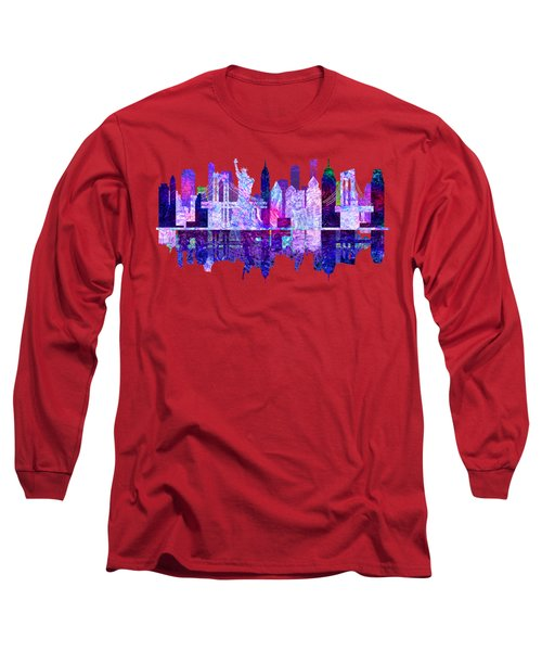 New York Skyline Red Long Sleeve T-Shirt by John Groves