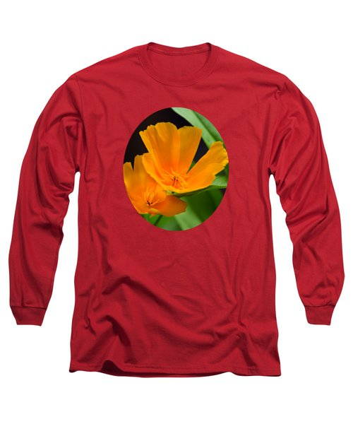 Orange California Poppies Long Sleeve T-Shirt by Christina Rollo
