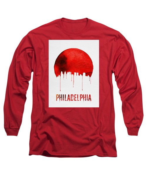 Philadelphia Skyline Redskyline Red Long Sleeve T-Shirt by Naxart Studio